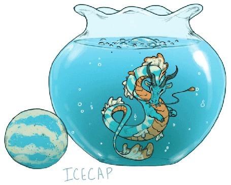 Анимация Дракон в воде в вазе