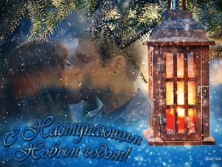 Анимация Влюбленная пара на фоне заснеженной ели и новогоднего светильника (С наступающим Новым годом!), by dixinox
