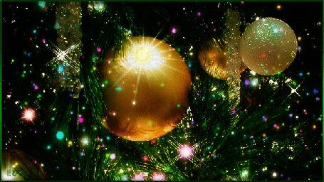 Анимация Праздничная феерия света, блеска, салютов мишуры и новогодних шаров (С Новым годом!)