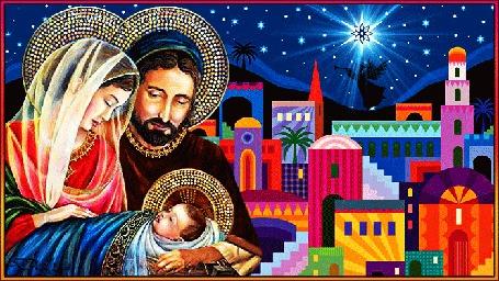 Анимация На фоне города Вифлеема дева Мария и Иосиф держат в яслях новорожденного Иисуса, в небе горит Вифлеемская звезда