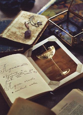 Анимация Тетрадь с конспектом заклинания Aguamenti и вклеенной на странице живой фотографией наполняющегося бокала, на столе с учебниками и камнями, синемаграфия из серии Hogwarts notebooks by Daria Khoroshavina