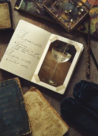 Анимация Тетрадь с конспектом заклинания Aguamenti, со вклеенным фото наполняющегося водой бокала, на столе с книгами по магии, синими бархатными балетками с бантиками, стеклянной шкатулкой с камнями и волшебной палочкой, синемаграфия из серии Hogwarts notebooks by Daria Khoroshavina