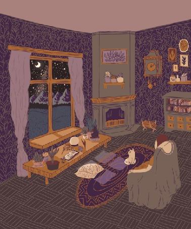 Анимация Девушка сидит на кресле перед ковриком, где сидит кот и стоит стол у окна
