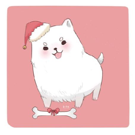 Анимация Маленький белый пес в колпаке Санта-Клауса с косточкой в подарок, на розовом фоне, by mamochan-momochan
