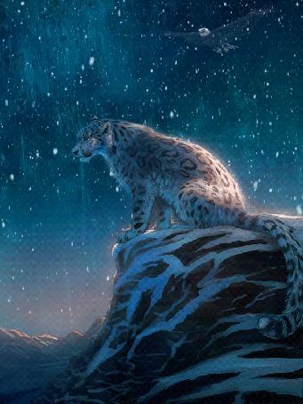Анимация Ирбис на скале и орел в небе на фоне падающего снега