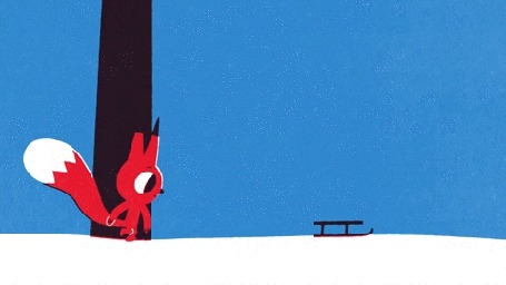 Анимация Бельчонок подходит к санкам и толкает их