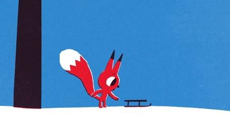 Анимация Бельчонок бежит за санками