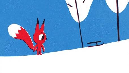 Анимация Бельчонок убегает от санок, съезжающих с горки