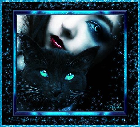 Анимация Девушка и кошка с зелеными глазами в рамке, by Amber