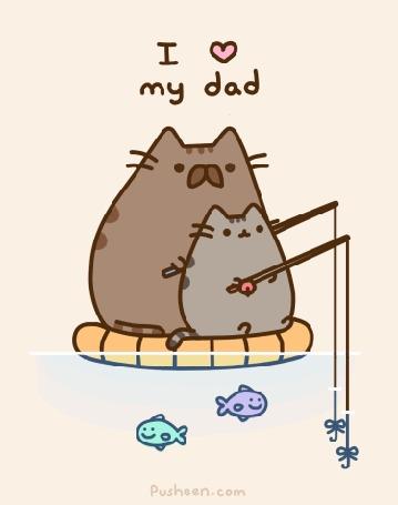 Анимация Pusheen Cat / Кот Пушин с отцом ловит рыбу (I love my dad / Я люблю своего папу)