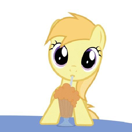 Анимация Персонаж-пони пьющий коктейль через трубочку из мультсериала Little Pony: Friendship is Magic / Мои маленькие пони: Дружба — это чудо, by Lumorn