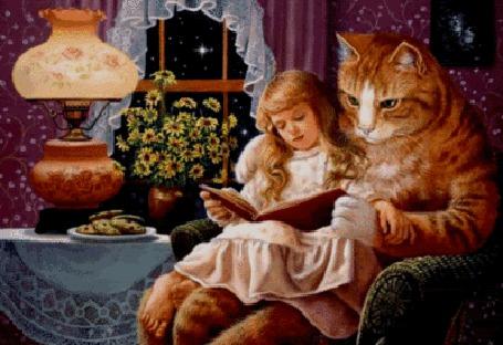 Анимация Кот с девочкой читают книгу, на столе лампа, на подоконнике стоят цветы