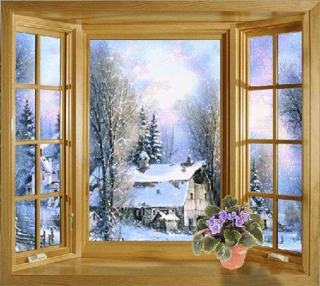 Анимация Горшок с цветком на подоконнике мансарды, через окно которой виден умиротворяющий лубочный зимний пейзаж - домик, засыпанный снегом, в окружении елок и берез под серебристыми блестками медленно опадающего снега