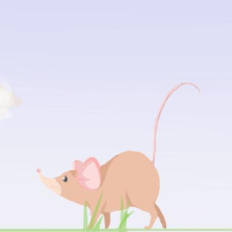 Анимация Мышка идет по лугу с цветами на фоне неба с облаками, by EdibleElement