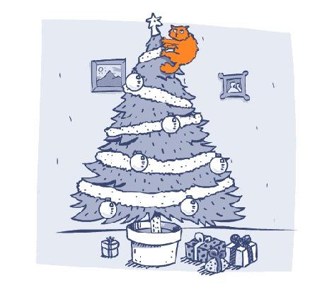 Анимация Кот качается на верхушке новогодней елки под которой лежат подарки