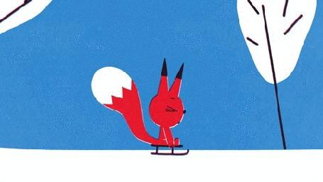 Анимация Бельчонок качается на санках