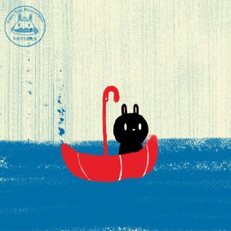 Анимация Черный кролик плывет на зонте