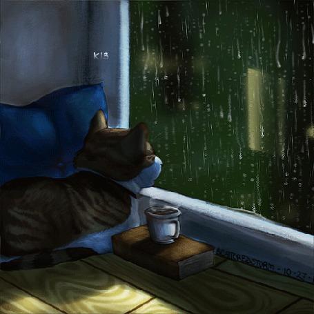 Анимация Кошка смотрит на дождь за окном, рядом стоит чашка с горячим дымящимся напитком, by Scatteredstorm