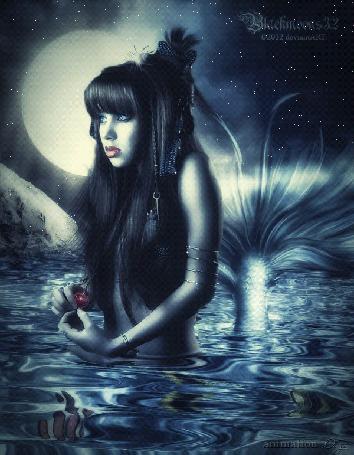 Анимация Девушка-русалка с красным кулоном стоит в воде лунной ночью, by Диза