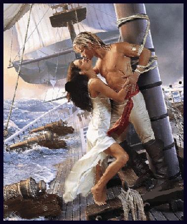 Анимация Юноша привязал себя к мачте и стоя целует в шторм девушку