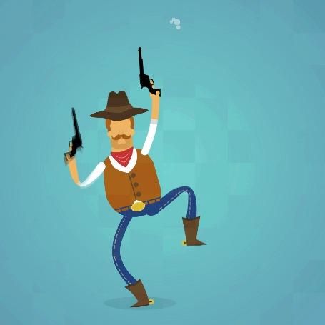 Анимация Ковбой подпрыгивает и стреляет из револьверов