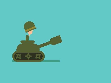 Анимация Танкист в танке постреливает и получает в ответ