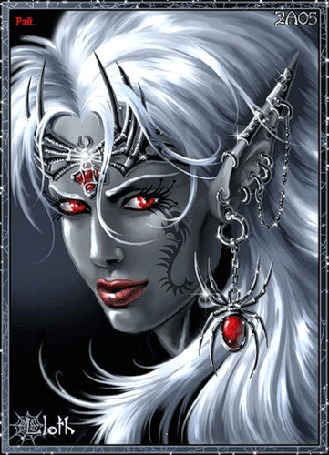 Анимация Фантастическая девушка с красными глазами и с серьгой в виде паука (Рай)