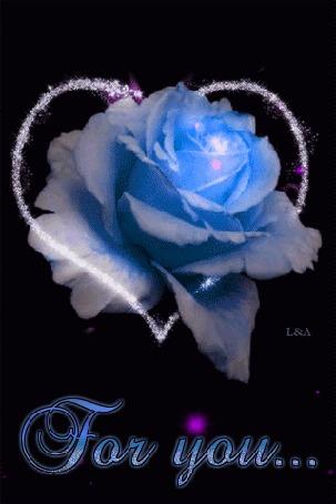 Анимация Голубая роза в сердце (For you / Для тебя) by L&A