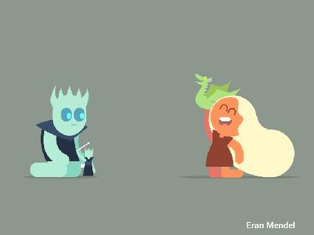 Анимация Night King / Король Ночи убивает дракона Daenerys Targaryen / Дейнерис Таргариен из сериала Game Of Trones / Игра Престолов, by Eran Mendel