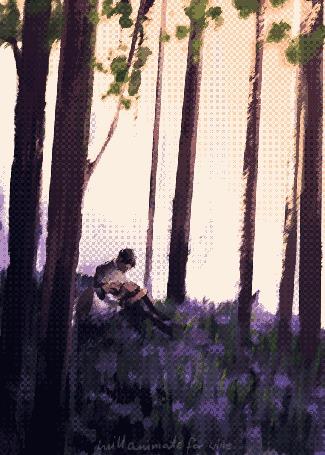 Анимация Девушка лежит на коленях у парня в лесу, by willanimateforwine
