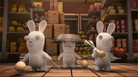 Анимация Кролики готовятся к бою, мультсериал Бешеные кролики: Вторжение / Rabbids Invasion