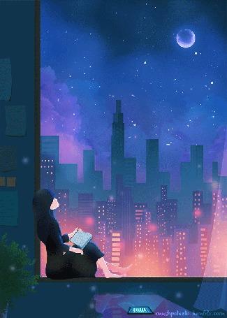 Анимация Девушка с книгой сидит на подоконнике окна, мечтая о парне, by mushpotaeto