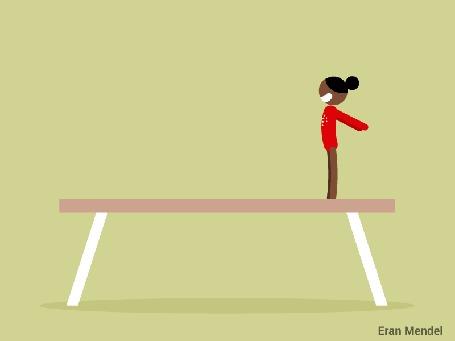 Анимация Гимнастка выполняет упражнения на бревне, by Eran Mendel