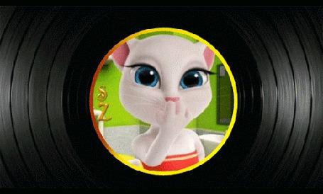 Анимация Романтическая кошечка шлет воздушные поцелуи с любовью, by SZ