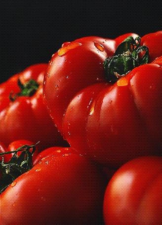 Анимация Капли воды стекают по помидорам