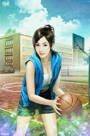 Анимация Ясным летним солнечным днем, где-то примерно в полуденное время, на школьном дворе, на спортивной площадке, играет в баскетбол юная девушка, одетая в синюю накидку