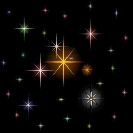 Анимация Небо в звездах мягко поблескивает светом
