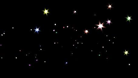 Анимация Разноцветные блестки - звездочки кружатся