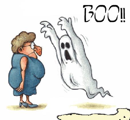 Анимация Привидение пытается напугать женщину, но безуспешно, (BOO!)