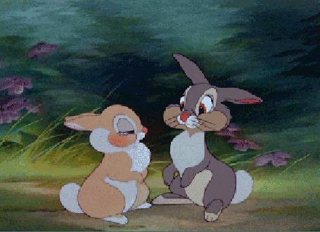 Анимация Зайчиха целует зайца Топотуна, мультфильм Bambi / Бэмби