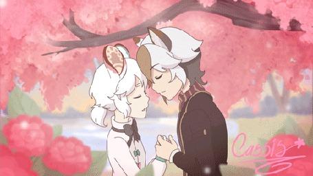 Анимация Парень и девушка с ушками целуются
