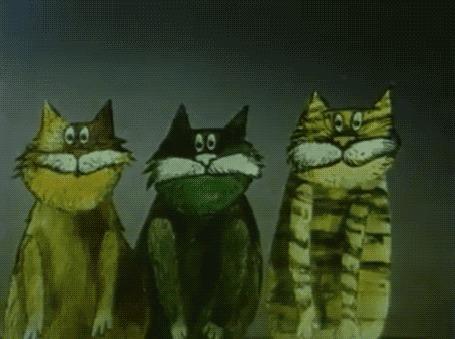 Анимация Орущие песню три кота