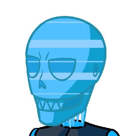 Анимация Синий череп на белом фоне, by TheFlippmeister