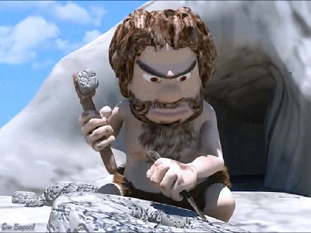 Анимация Пещерный человек занят работой у входа в жилище
