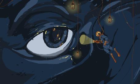 Анимация Аквалангист светит в глаз монстру, art by Zelie Dethorey