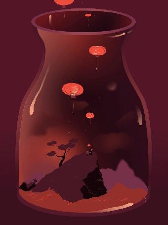 Анимация Девушки стоят на горе, и над ними в воздухе летают воздушные шары, by Zelie Dethorey