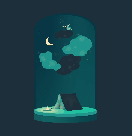 Анимация Девушка парит в облаках над палаткой, перед которой горит костер, by Zelie Dethorey