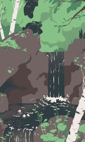 Анимация Лягушка сидит у небольшого водопада, by Zelie Dethorey