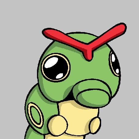 Анимация Зеленый червяк на сером фоне, by TheFlippmeister