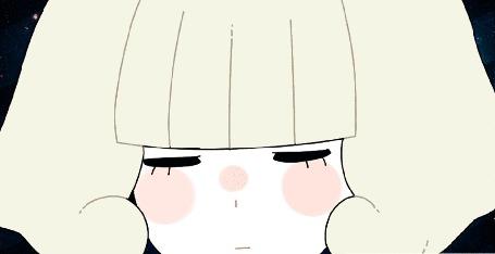 Анимация Белокурая девушка на фоне космоса, by MisaKarin